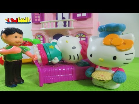 Hello kitty Toys Dollhouse Toys and Dolls Fun Playing with Hello Kitty Princesses &  Mickey Mouse