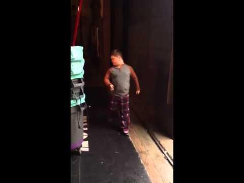 Kellen Michael on set for Shameless during break