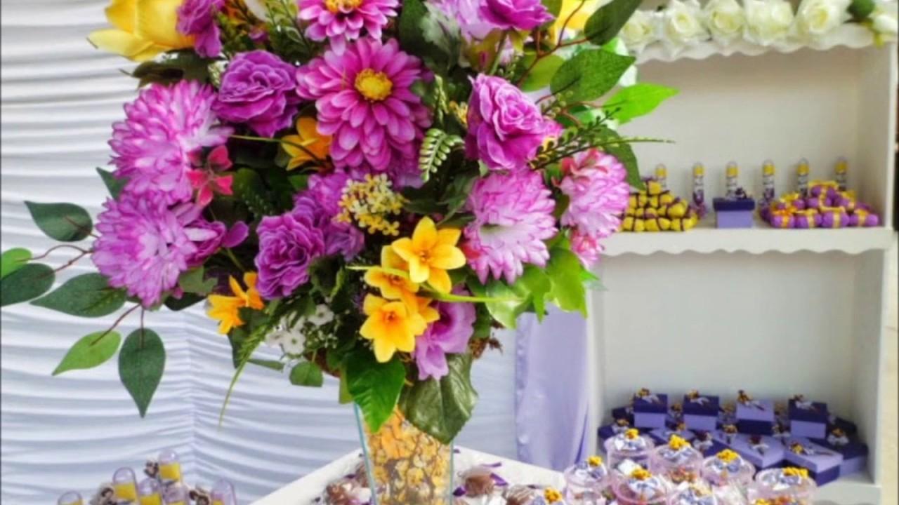 Decoração de casamento simples amarelo com lilas  YouTube