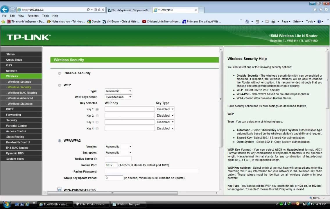 Cách đặt pass cho Wifi TP Links - http://taimienphi.vn