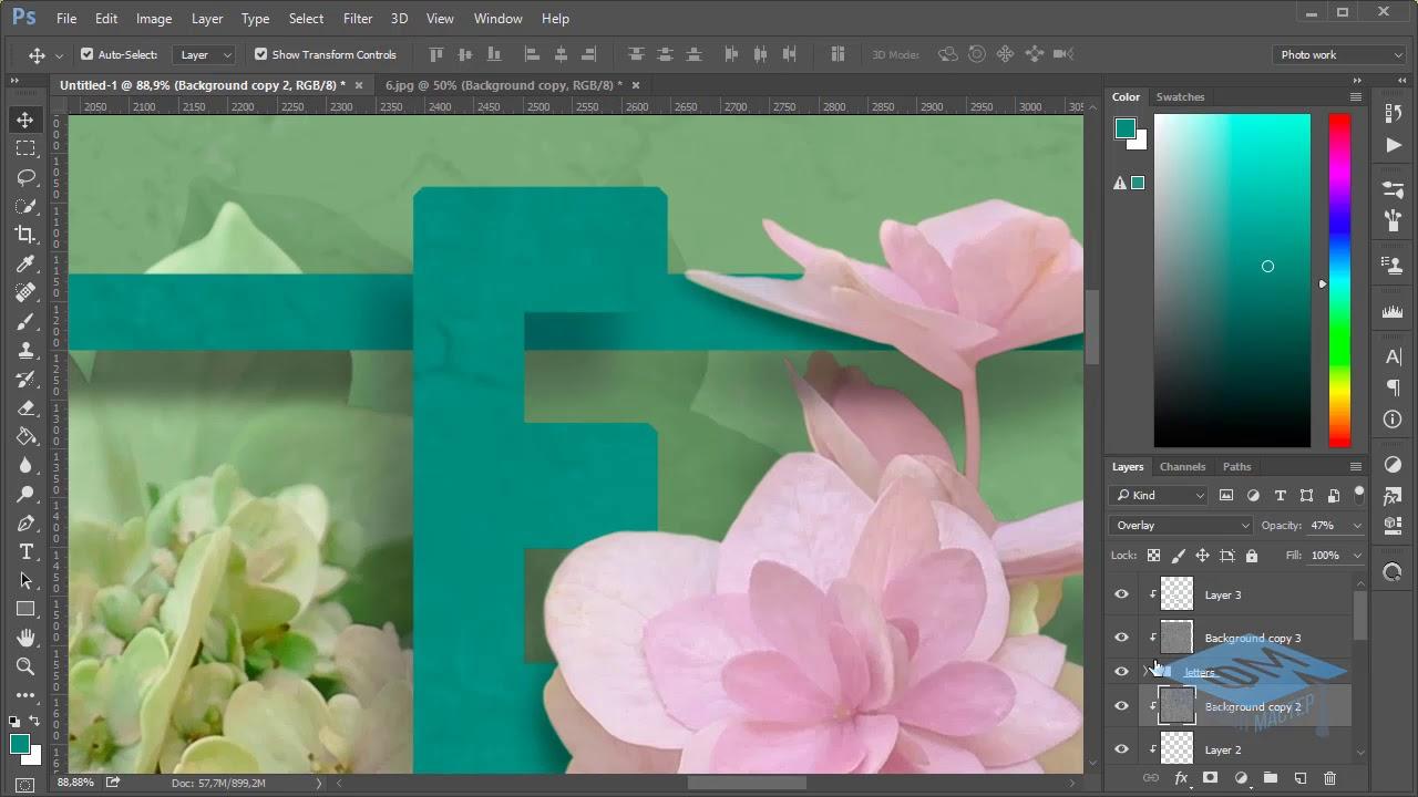 Фотошоп урок как сделать открытку, отражением