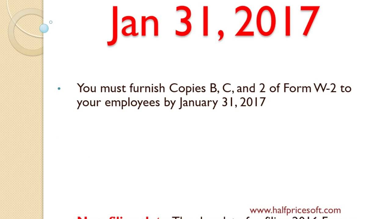 W2 Tax Form Filing Deadline In 2017