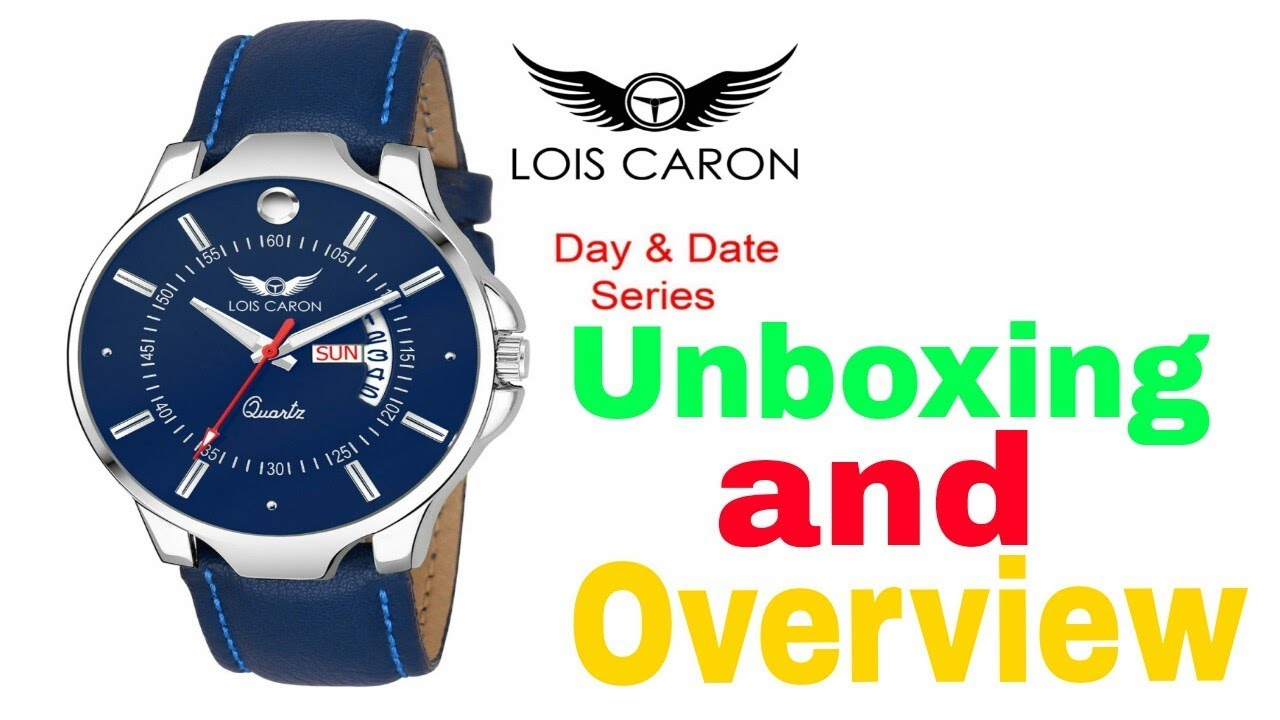 16f0174792b Lois Caron LCS-8069 BLUE DIAL DAY   DATE FUNCTIONING Watch