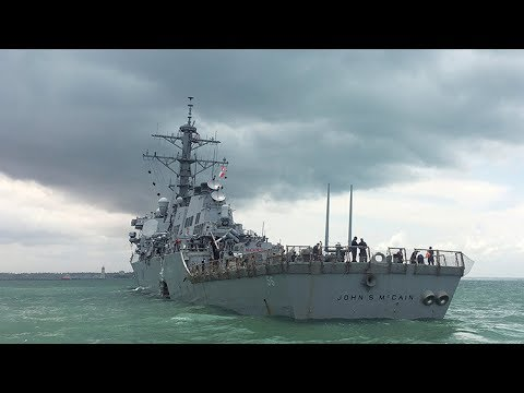 US warship collides with merchant vessel east of Singapore