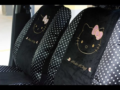 capa para banco de carro hello kitty veludo com bolinhas. Black Bedroom Furniture Sets. Home Design Ideas