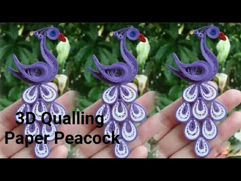 #3DQuillingPaperIdea#3DQuillingpeacock How to make paper peacock Quilling paper at home step by step