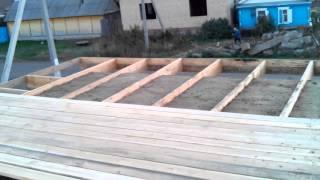 Дом из опилкобетона стенку залили а потолок продолжаем заливать 03 10 2015