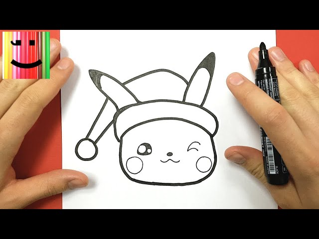 tuto dessin comment dessiner pikachu kawaii pour noel. Black Bedroom Furniture Sets. Home Design Ideas