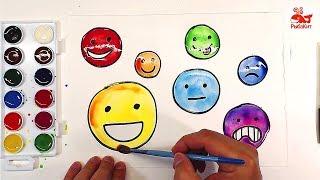 Яркие СМАЙЛИКИ Акварелью для детей : уроки рисования