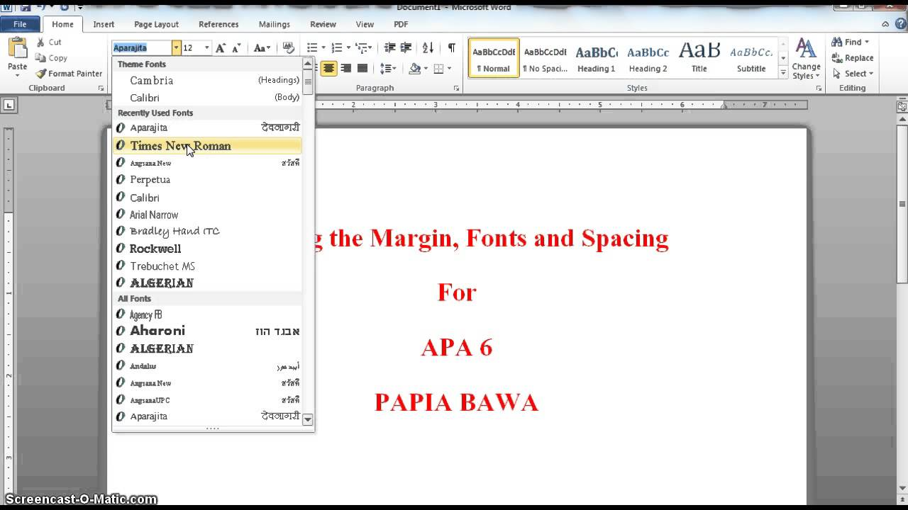 what are the margins for apa format