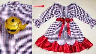 اسهل طريقه لخياطة فستان من قميص رجالي قديم بفكره مدهشه
