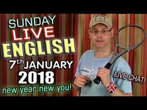 LIVE English Lesson - 7th January 2018 - body part idioms - keep fit - uses of 'work' - grammar