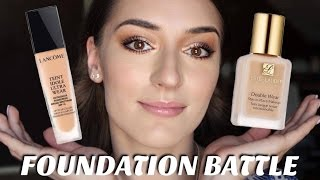 FOUNDATION BATTLE | Lancôme Teint Idole Ultra Wear vs. Estée Lauder Double Wear | Dejana Pasic