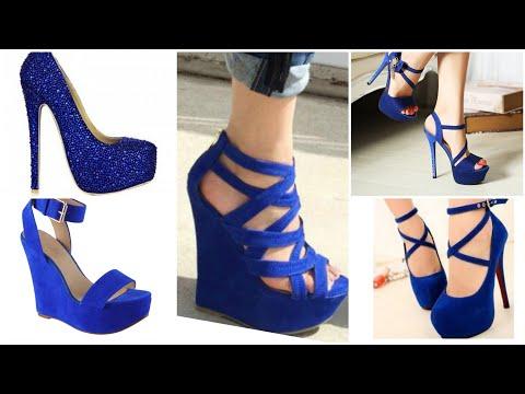 Ladies Bright Blue 💙 Cobalt Electric Platforms Strappy Sandals High Heels Shoes Design Collection