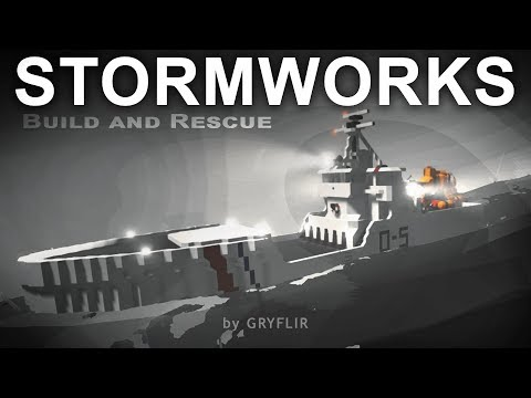 HUGE BOAT with a HELICOPTER ON IT caught in a STORM ! | Stormworks Workshop Creations Gameplay