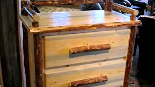 Rustic Log 4 Drawer Chest With Top Railing Accent