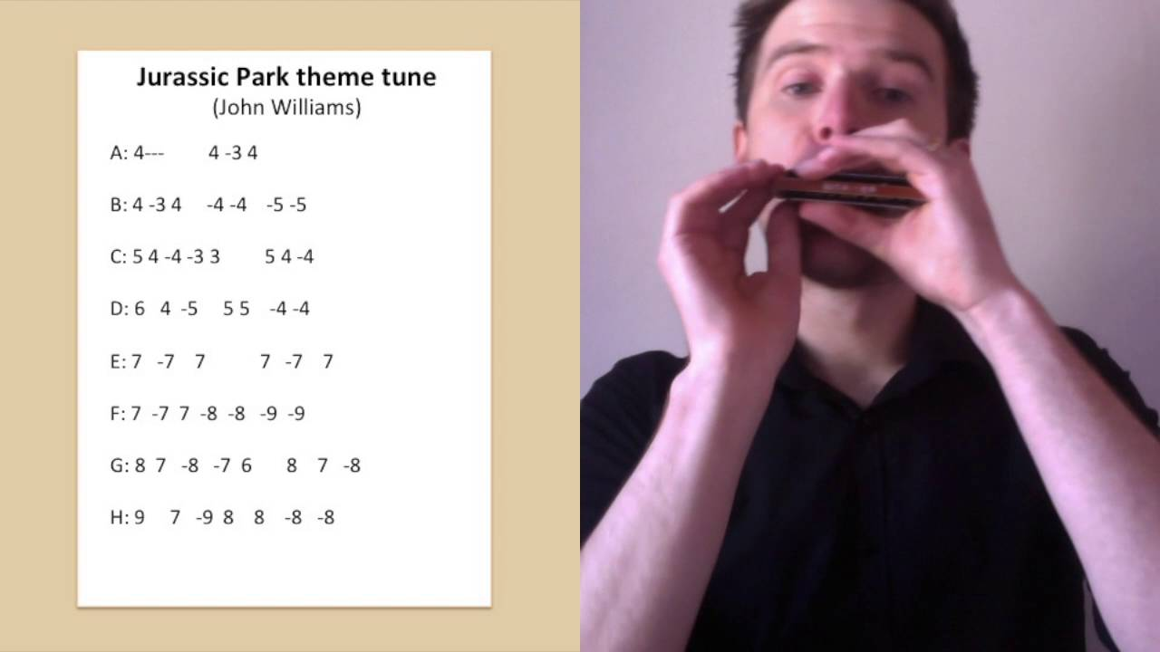 Jurassic Park harmonica lesson: How to play the Jurassic Park theme on C diatonic harmonica ...