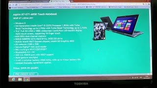 Windows 8  Look and quick review of Acer Aspire R7 -571 notebook and touch screen tablet core I5
