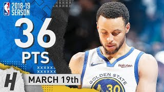 Stephen Curry Full Highlights Warriors vs Timberwolves 2019.03.19 - 36 Points, 8 Threes!