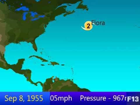 1955 Atlantic Hurricane Season Animation
