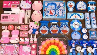 Special Series #31 BLUE DOREAMON vs PINK HELLO KITTY !! Mixing Random Things into Slime