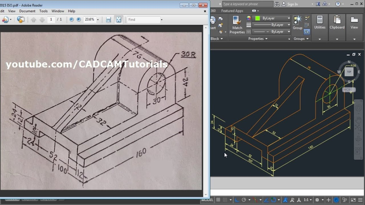 Autocad 2015 Isometric Drawing Tutorial Autocad Isometric Drawing