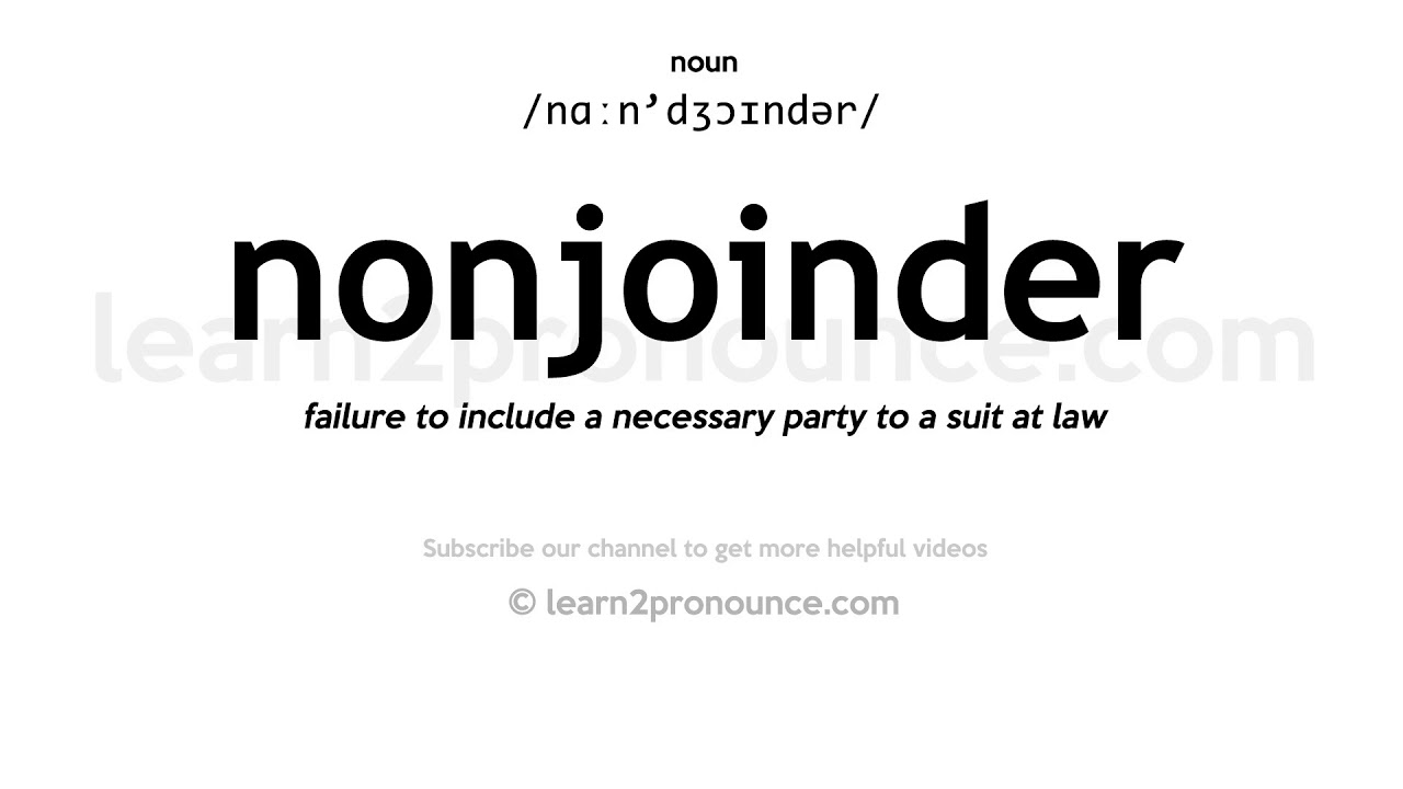 non joinder