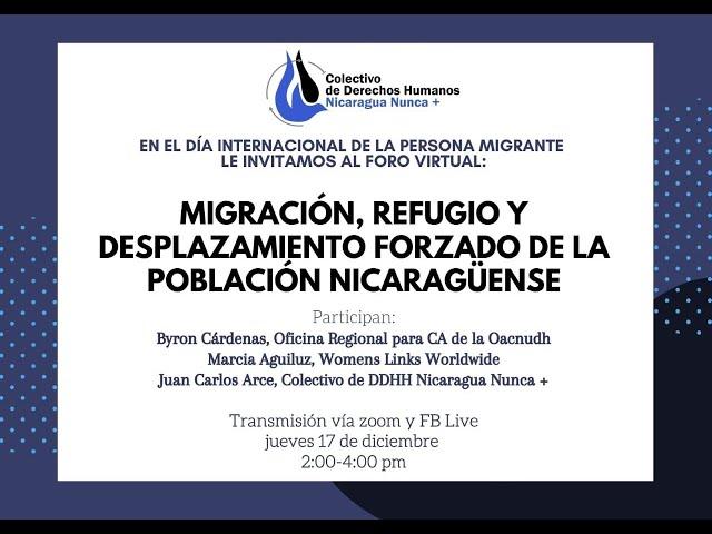 Migración Refugio y desplazamiento forzado de la población nicaragüense