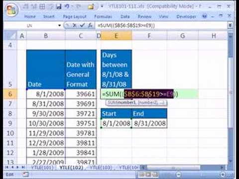 YTLE#102: Count Dates given 2 Criteria - Excel