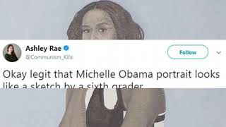 Outcry over newly unveiled Michelle Obama portrait