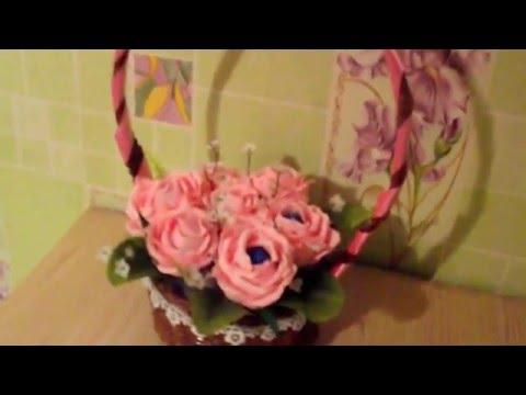 Конфетный букет (нежно розовые розы в корзинке ручной работы)