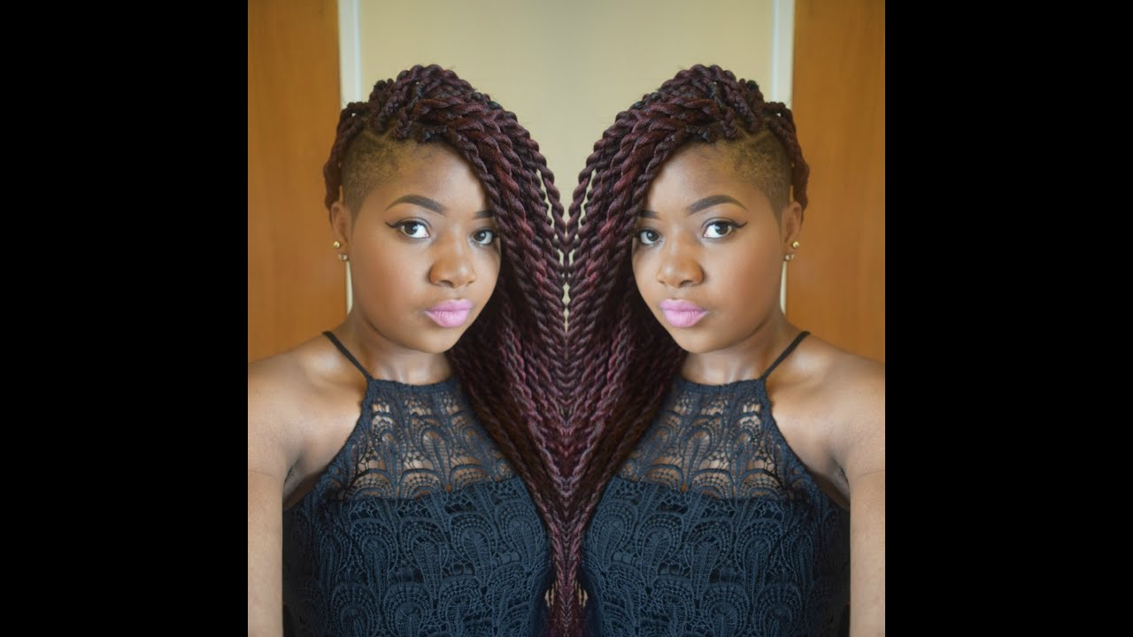 Hair Tutorial Jumbo Senegalese Twists Rope Two Strand With Shaved Sides You