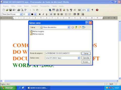 Salvar Documento Do Works (WPS) Em Word (DOC)