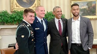 The President Meets with the Three Paris Train Heroes