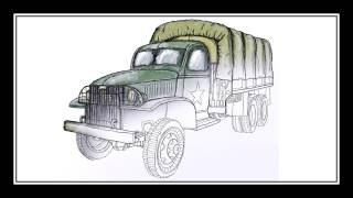 How to draw a military truck. (American CCKW)