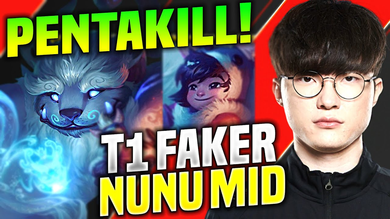 FAKER THE NUNU GOD PENTAKILL! - SKT T1 Faker Plays Nunu Mid vs Zoe! | KR SoloQ Patch 10.14