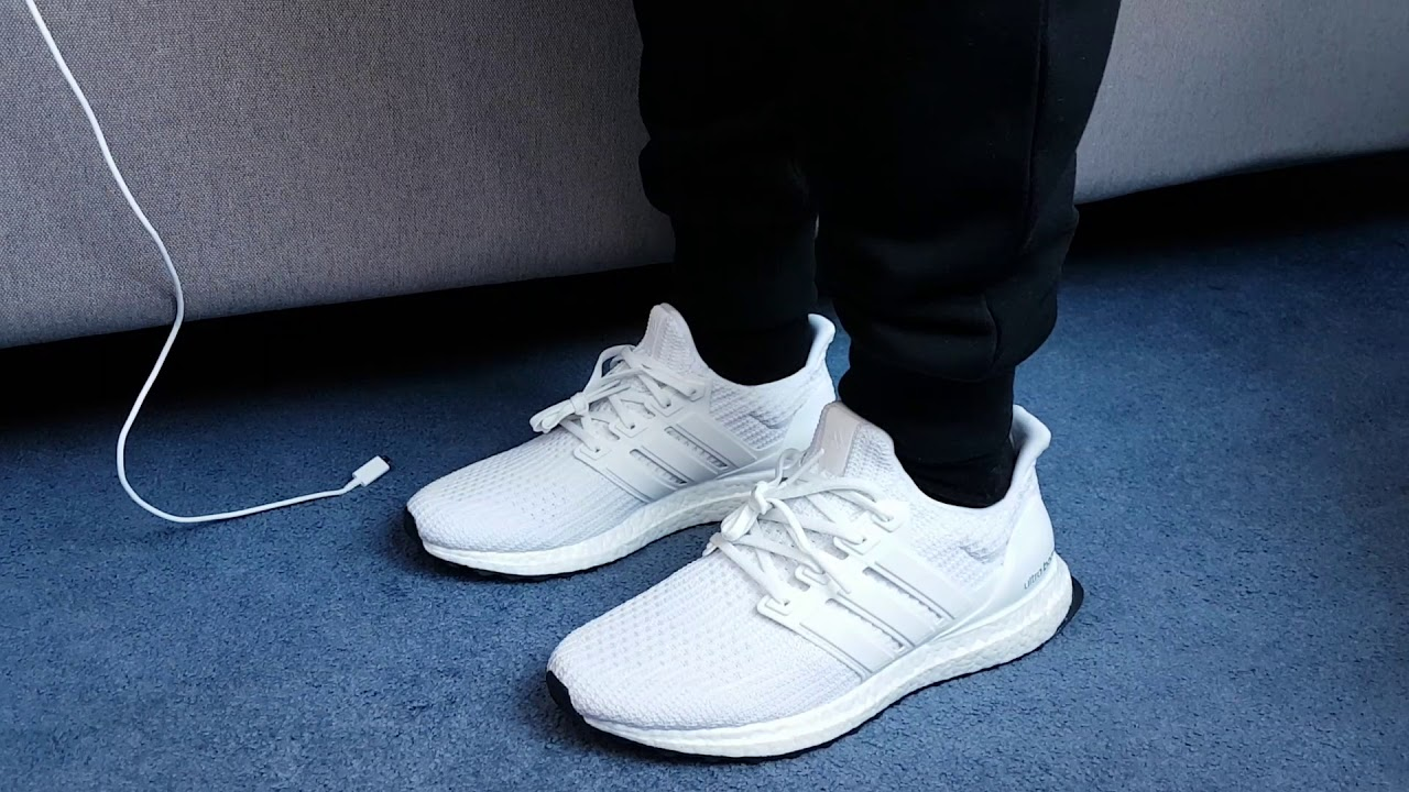 low cost cd89e 294d6 Triple White Ultra Boost 4.0 On Feet
