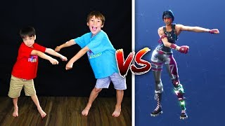 FORTNITE DANCES IN REAL LIFE CHALLENGE! Bro vs Bro! For Children - Kids Fun Lab