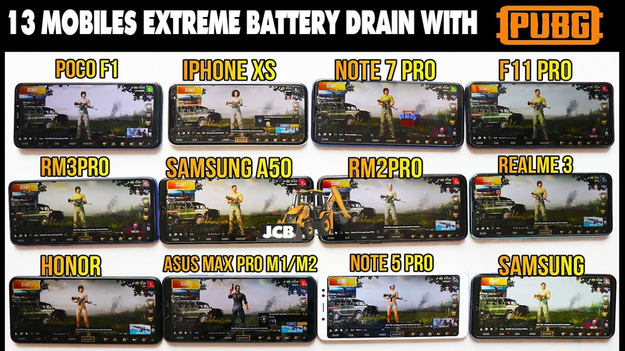 [JCB]feat - BIGGEST Battery Drain 100% -0% With PubG  #HEAT TEST#Redmi#iphone#Asus#SAMSUNG#REALME#