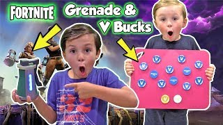 Fortnite Real Life V Bucks and Grenade - Dad Gets Exploded | DavidsTV