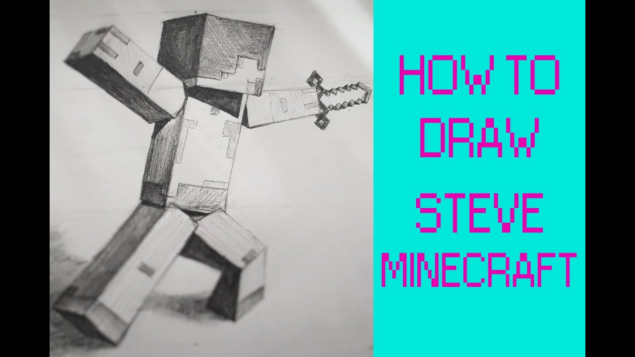 How To Draw Steve From Minecraft With Pickaxe Youtube