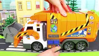 Escavadora, Caminhões de lixo e carros de policia, Carrinho de bombeiros - Excavator Toys