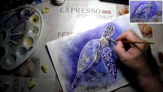 как нарисовать морскую черепаху акварелью поэтапно/Полный видеоурок