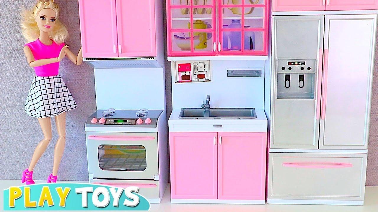 Barbie Doll Kitchen Toys Set Rapunzel Doll Cooking Youtube