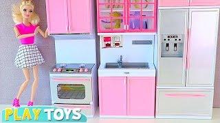 Barbie Doll Kitchen Toys Set up for Tea party w/ Disney Princess Rapunzel! 🎀