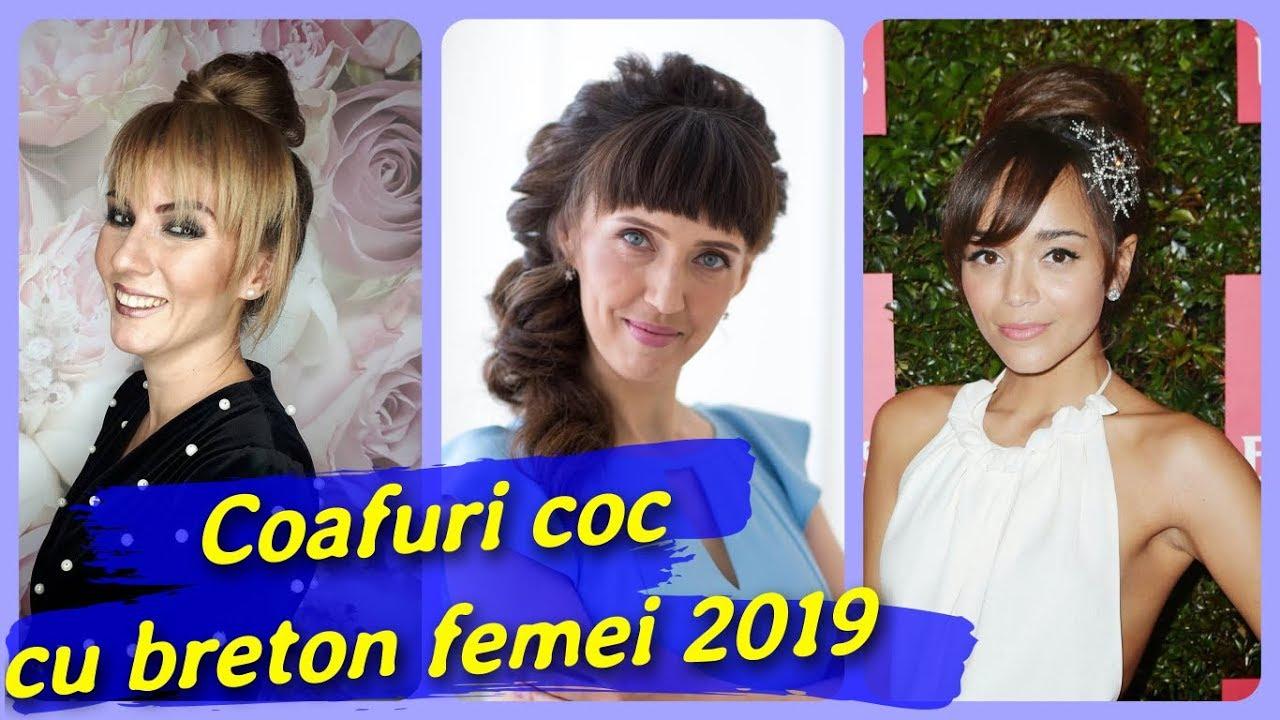 20 De Idei De Coafuri Coc Cu Breton Femei 2019 Youtube