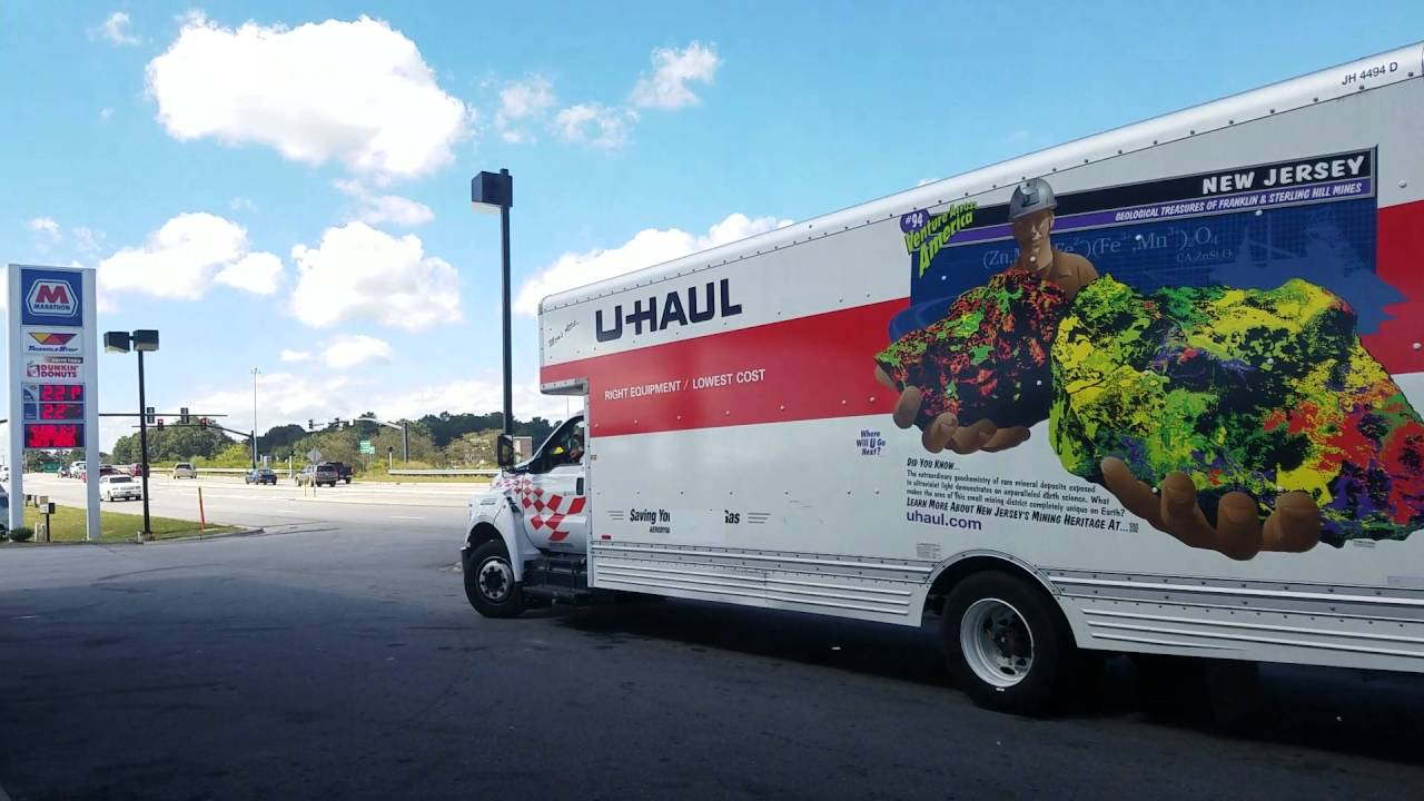 new u haul 26 foot moving truck at gas station in hendersonville nc