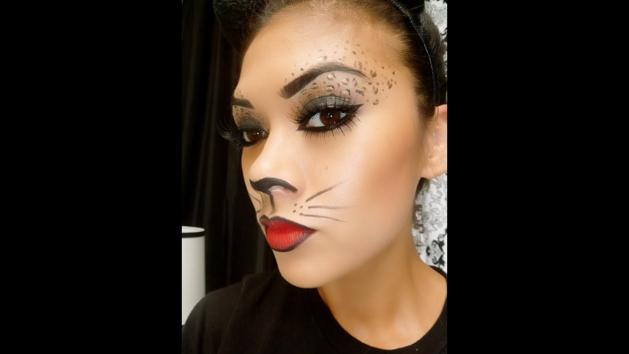 Leopard Cat Makeup Tutorial; Halloween Makeup - YouTube