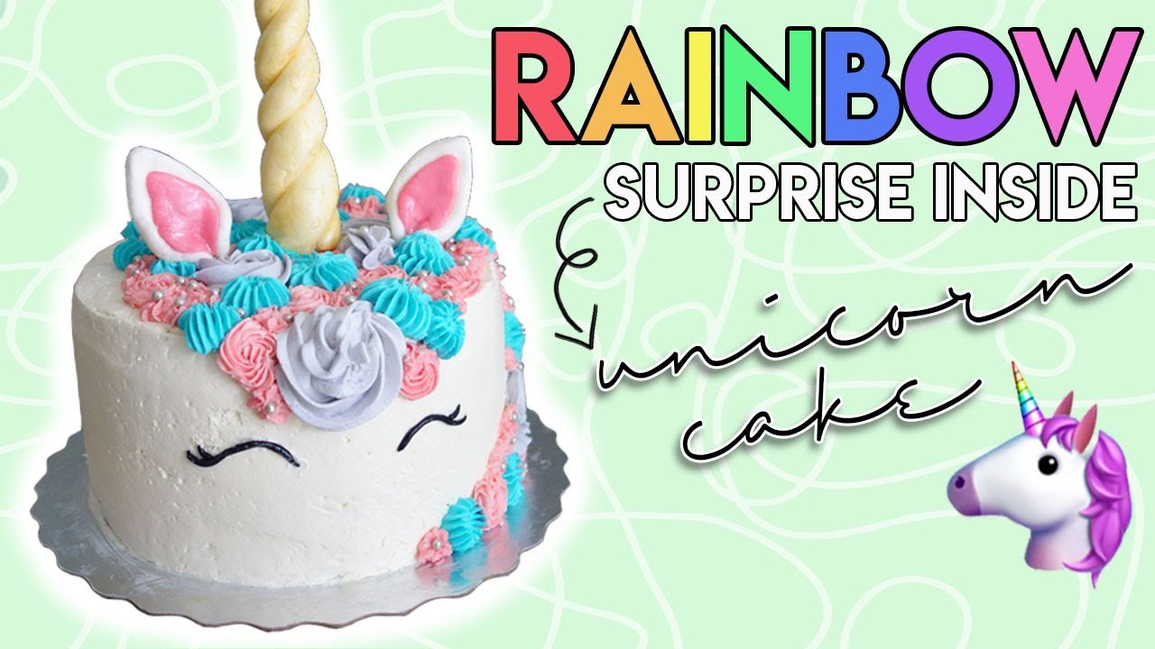 How to make a SURPRISE INSIDE UNICORN CAKE YouTube