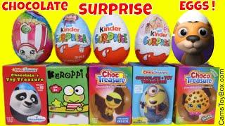 Chocolate Surprise Eggs Minions Masha Bear Keroppi Shopkins Barbie Kinder Choco Treasure Egg Toys